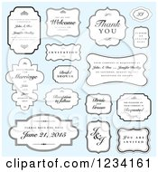 Clipart Of Wedding Labels With Sample Text Over Blue Royalty Free Vector Illustration
