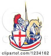 Clipart Of A Horseback Jousting Knight Over An English Flag Banner Royalty Free Vector Illustration
