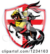 Clipart Of A Horseback Knight With A Lance Over An English Flag Shield Royalty Free Vector Illustration