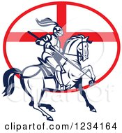 Clipart Of A Horseback Jousting Knight Over An English Flag Oval Royalty Free Vector Illustration
