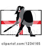 Clipart Of A Silhouetted Black Knight In Full Armor Over An English Flag Royalty Free Vector Illustration