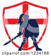 Clipart Of A Silhouetted Knight In Full Armor Over An English Flag Shield Royalty Free Vector Illustration