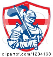 Clipart Of A Knight In Full Armor With A Sword And English Flag Shield 2 Royalty Free Vector Illustration