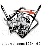 Clipart Of A Knight In Full Armor Swinging A Sword In A Diamind With An English Flag Royalty Free Vector Illustration