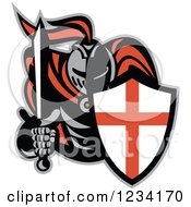 Clipart Of A Knight In Full Armor Holding A Sword And English Shield Royalty Free Vector Illustration