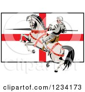 Clipart Of A Horseback Jousting Knight With A Lance Over An English Flag Royalty Free Vector Illustration