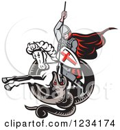 Clipart Of A Horseback English Knight Spearing A Snake Royalty Free Vector Illustration by patrimonio