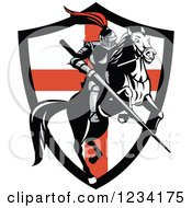 Clipart Of A Horseback Knight With A Jousting Lance Over An English Flag Shield Royalty Free Vector Illustration