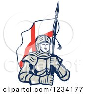 Clipart Of A Knight In Full Armor Carrying An English Flag Royalty Free Vector Illustration