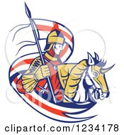 Clipart Of A Horseback Knight With An English Flag Banner Royalty Free Vector Illustration