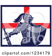 Clipart Of A Knight In Full Armor Over An English Flag Royalty Free Vector Illustration