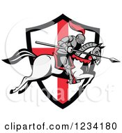 Clipart Of A Horseback Jousting Knight Leaping Over An English Flag Shield Royalty Free Vector Illustration