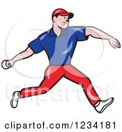 Clipart Of A Cricket Bowler In Blue And Red Royalty Free Vector Illustration