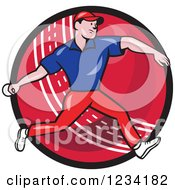 Clipart Of A Cricket Bowler Over A Ball 3 Royalty Free Vector Illustration
