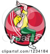 Clipart Of A Cricket Bowler Over A Ball 2 Royalty Free Vector Illustration