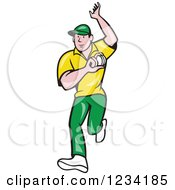 Clipart Of A Cricket Bowler Royalty Free Vector Illustration