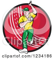 Clipart Of A Cricket Bowler Over A Ball Royalty Free Vector Illustration by patrimonio