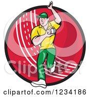 Poster, Art Print Of Cricket Bowler Over A Ball