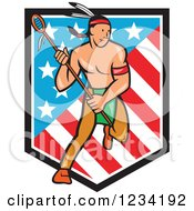 Clipart Of A Native American Lacrosse Player With A Stick Over An American Shield Royalty Free Vector Illustration