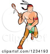 Clipart Of A Native American Lacrosse Player With A Stick Royalty Free Vector Illustration