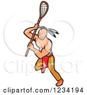 Clipart Of A Native American Lacrosse Player Running With A Stick Royalty Free Vector Illustration