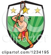 Clipart Of A Native American Lacrosse Player With A Stick Over A Green And Star Shield Royalty Free Vector Illustration