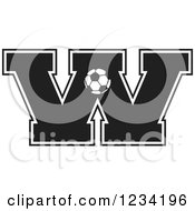 Clipart Of A Black And White Soccer Letter W Royalty Free Vector Illustration