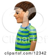 Clay Sculpture Clipart Boy In Profile Royalty Free 3d Illustration
