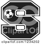 Clipart Of A Black And White Soccer Letter S Royalty Free Vector Illustration by Johnny Sajem
