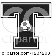 Clipart Of A Black And White Soccer Letter T Royalty Free Vector Illustration