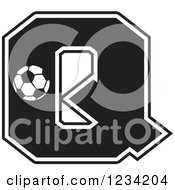 Clipart Of A Black And White Soccer Letter Q Royalty Free Vector Illustration