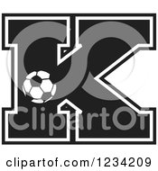 Clipart Of A Black And White Soccer Letter K Royalty Free Vector Illustration