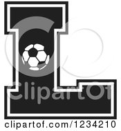 Clipart Of A Black And White Soccer Letter L Royalty Free Vector Illustration