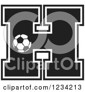 Clipart Of A Black And White Soccer Letter H Royalty Free Vector Illustration
