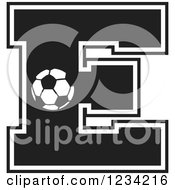 Clipart Of A Black And White Soccer Letter E Royalty Free Vector Illustration