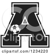 Clipart Of A Black And White Soccer Letter A Royalty Free Vector Illustration
