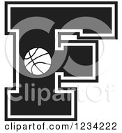 Clipart Of A Black And White Basketball Letter F Royalty Free Vector Illustration