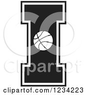 Clipart Of A Black And White Basketball Letter I Royalty Free Vector Illustration