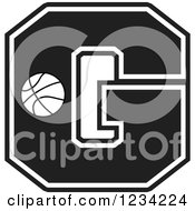 Clipart Of A Black And White Basketball Letter G Royalty Free Vector Illustration