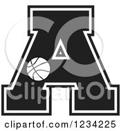 Clipart Of A Black And White Basketball Letter A Royalty Free Vector Illustration