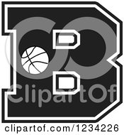 Clipart Of A Black And White Basketball Letter B Royalty Free Vector Illustration by Johnny Sajem