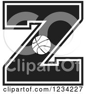 Clipart Of A Black And White Basketball Letter Z Royalty Free Vector Illustration
