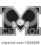 Clipart Of A Black And White Basketball Letter M Royalty Free Vector Illustration