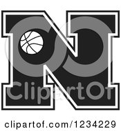 Clipart Of A Black And White Basketball Letter N Royalty Free Vector Illustration