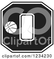 Clipart Of A Black And White Basketball Letter O Royalty Free Vector Illustration