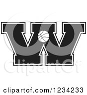Clipart Of A Black And White Basketball Letter W Royalty Free Vector Illustration