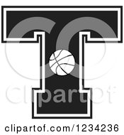 Clipart Of A Black And White Basketball Letter T Royalty Free Vector Illustration