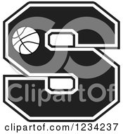 Clipart Of A Black And White Basketball Letter S Royalty Free Vector Illustration