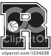 Clipart Of A Black And White Basketball Letter R Royalty Free Vector Illustration