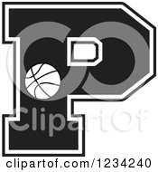 Clipart Of A Black And White Basketball Letter P Royalty Free Vector Illustration